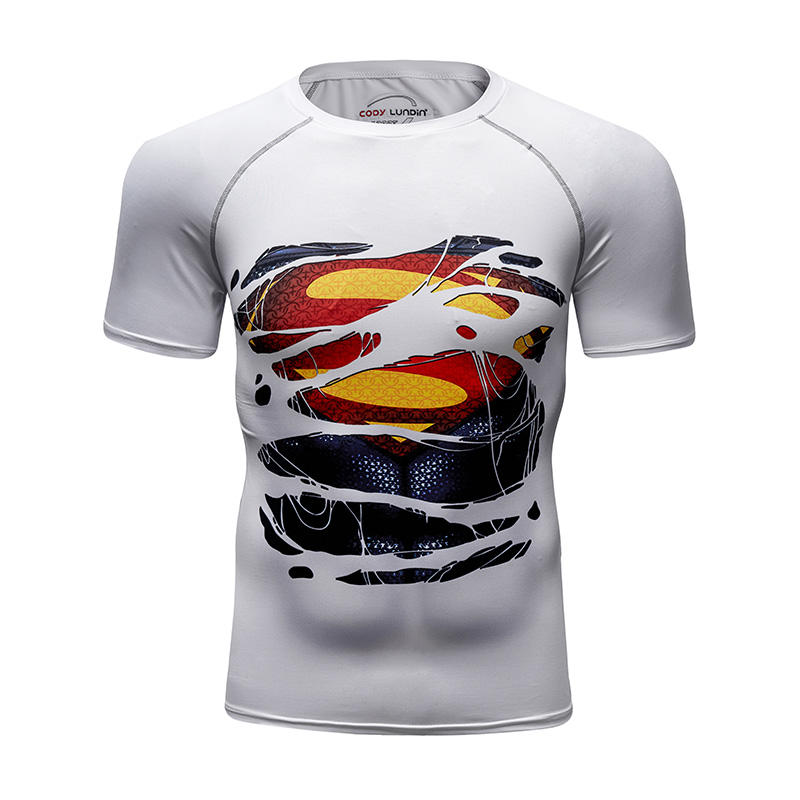 New Model Wholesale Cheaper Lycra Superhero Workout T-Shirt and Custom Gym Clothing