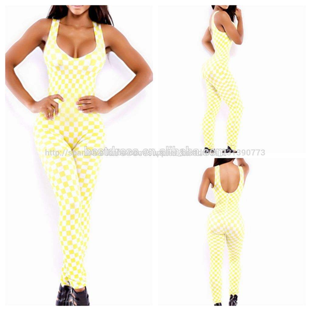 2014 caliente venta al por mayor de moda de <span class=keywords><strong>las</strong></span> señoras vendaje de color blanco con monos de amarillo