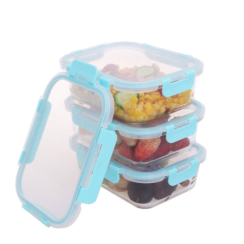 Amazon hot selling 3 pack glass borosilicate lunch box with removeable pp lid