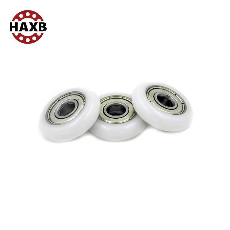 HAXB ABEC 1 3 5 small plastic conveyor wheel pulley nylon roller wheel with bearing 608zz
