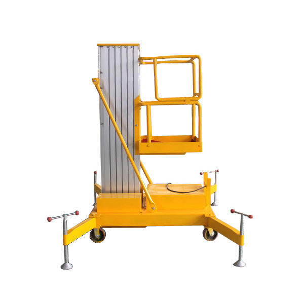 jinan Aluminum mast Lift platform lowered - 8m single- columned for aerial work/lift platform /hydraulic manlift