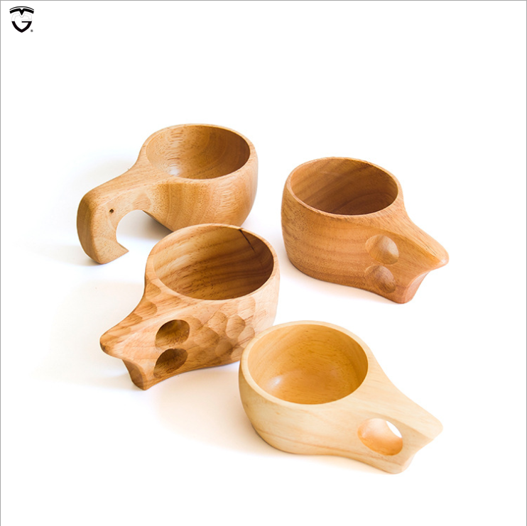 solid milk Nordic breakfast rubber wood cups manufacturers wholesale can be LOGO wooden kuksa egg cup with handle