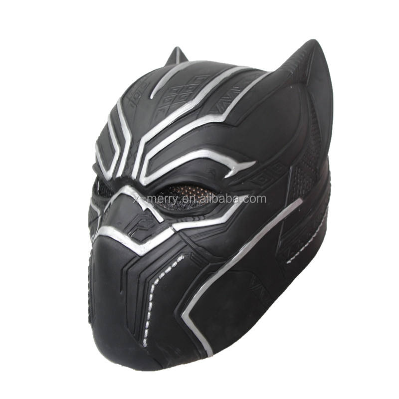 2017 Custom NEW BLACK PANTHER Captain America Civil War Latex Costume Cosplay Mask Helmet Party Toy x10025