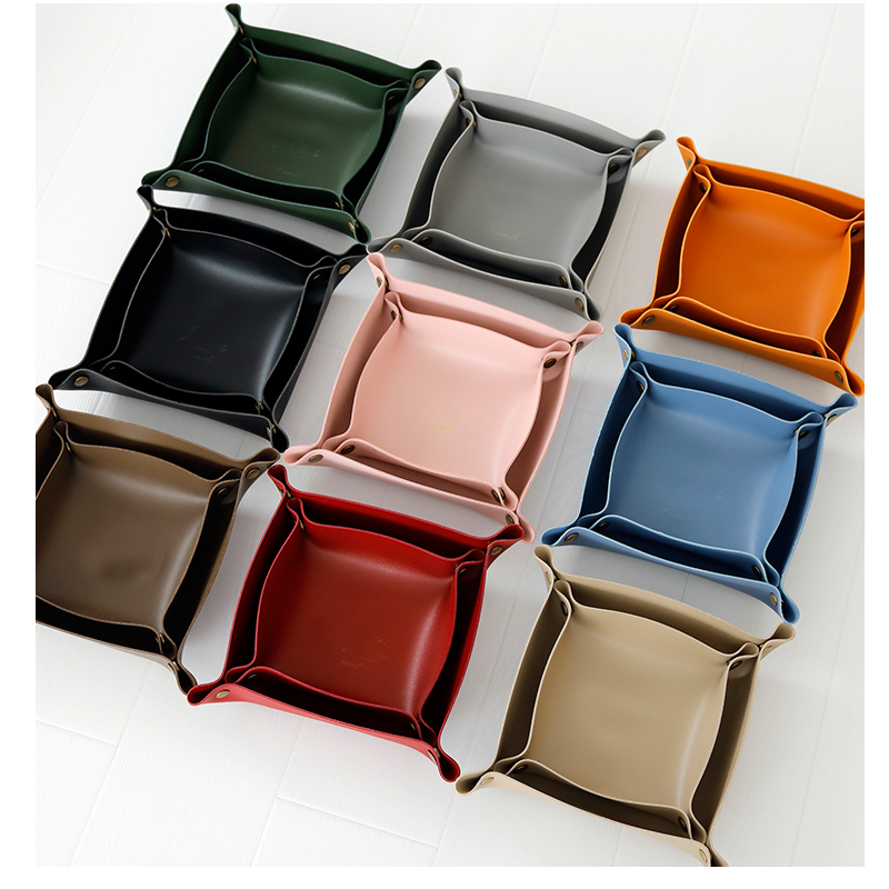 Wholesale Ready Stock Leather Double-deck Dice Tray jewelry Tray for Key Coin Change Phone Wallet
