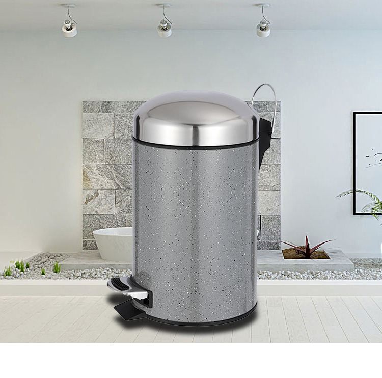 Simple design foot pedal bin for kitchen use bedroom dustbin eco friendly trash can with hook lift dustbin lorry