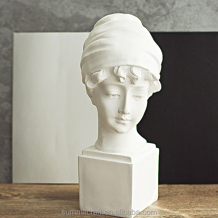 Resin pure white lady bust statue Art Sculpture
