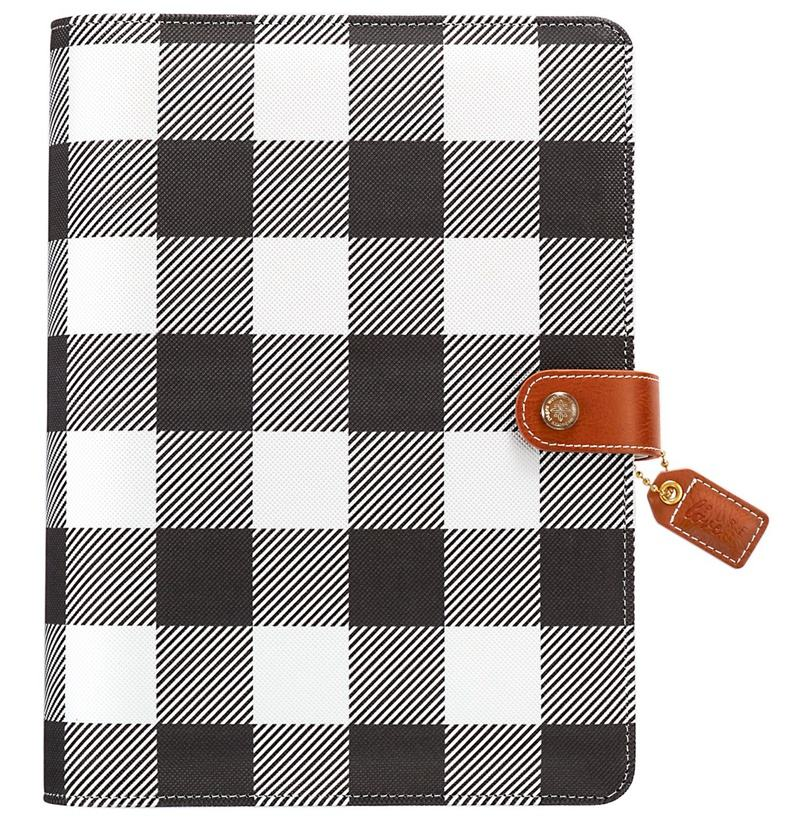 checkered printing pattern binder pvc/pu leather cover notepad with button close
