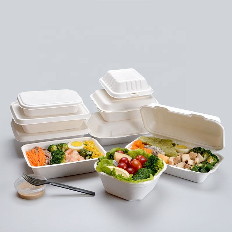 Eco imballaggi alimentari 6 pollici biodegradabile clamshell take away <span class=keywords><strong>burger</strong></span> scatole