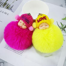 Creative sleep cute doll lined with plastic hair ball key chain imitation rex rabbit hair lady bag car key alloy pendant