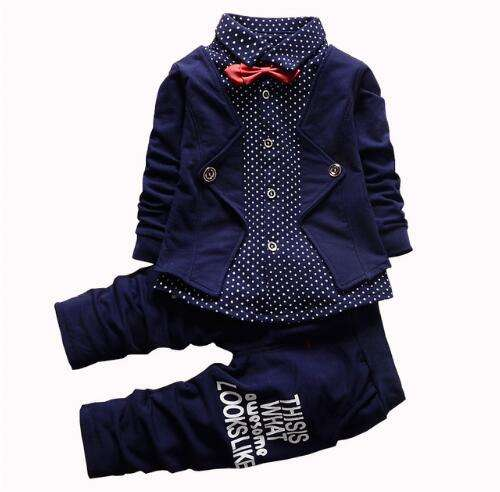 BibiCola Spring autumn Boys clothing sets children fashion suits for baby boy cotton 2pcs outfits for kids formal party clothes