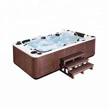Sunrans SR851 Free sample 158jets freestanding center bottom drain indoor massage bathtub 10 person hot tubs whirlpool