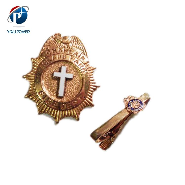 YP-CB-0138 Custom 3D Metal Gold Badge Chaplain
