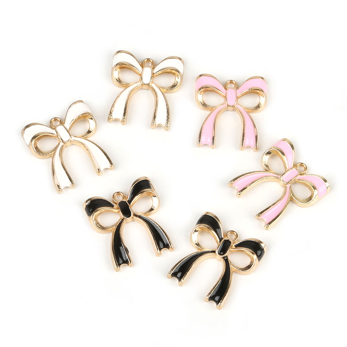 Wholesale 9-10pcs/bag 17x20mm Bowknot Pendants Metal Drop Oil Charms For DIY Bracelet Necklace Earrings Jewelry Findings Making