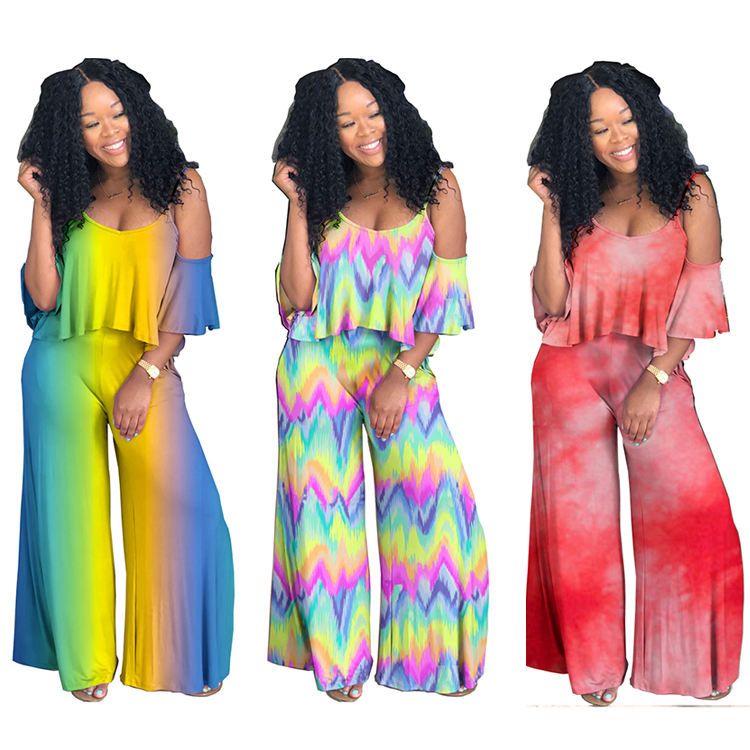 Wholesale MA6032 Plain summer sexy off shoulder women jumpsuits split design