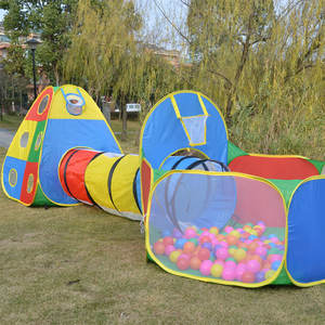 Kids Ball Pit Tents and Tunnels, Toddler Jungle Gym Play Tent with Play Crawl Tunnel Toy, for Boys babies infants Children, w/ B