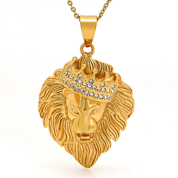 Marlary Hip Hop Style Crystal Rhinestones Stainless Steel 18K Gold Plated King Crown Lion Head Pendant
