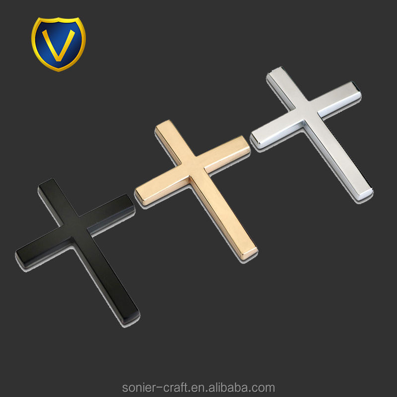 elegant different plating cross metal car logo 3d badge sticker car emblems and names