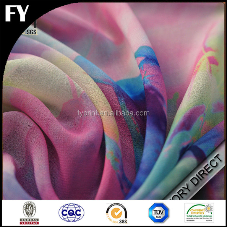 Custom digital printed fabric rainbow tulle in high quality