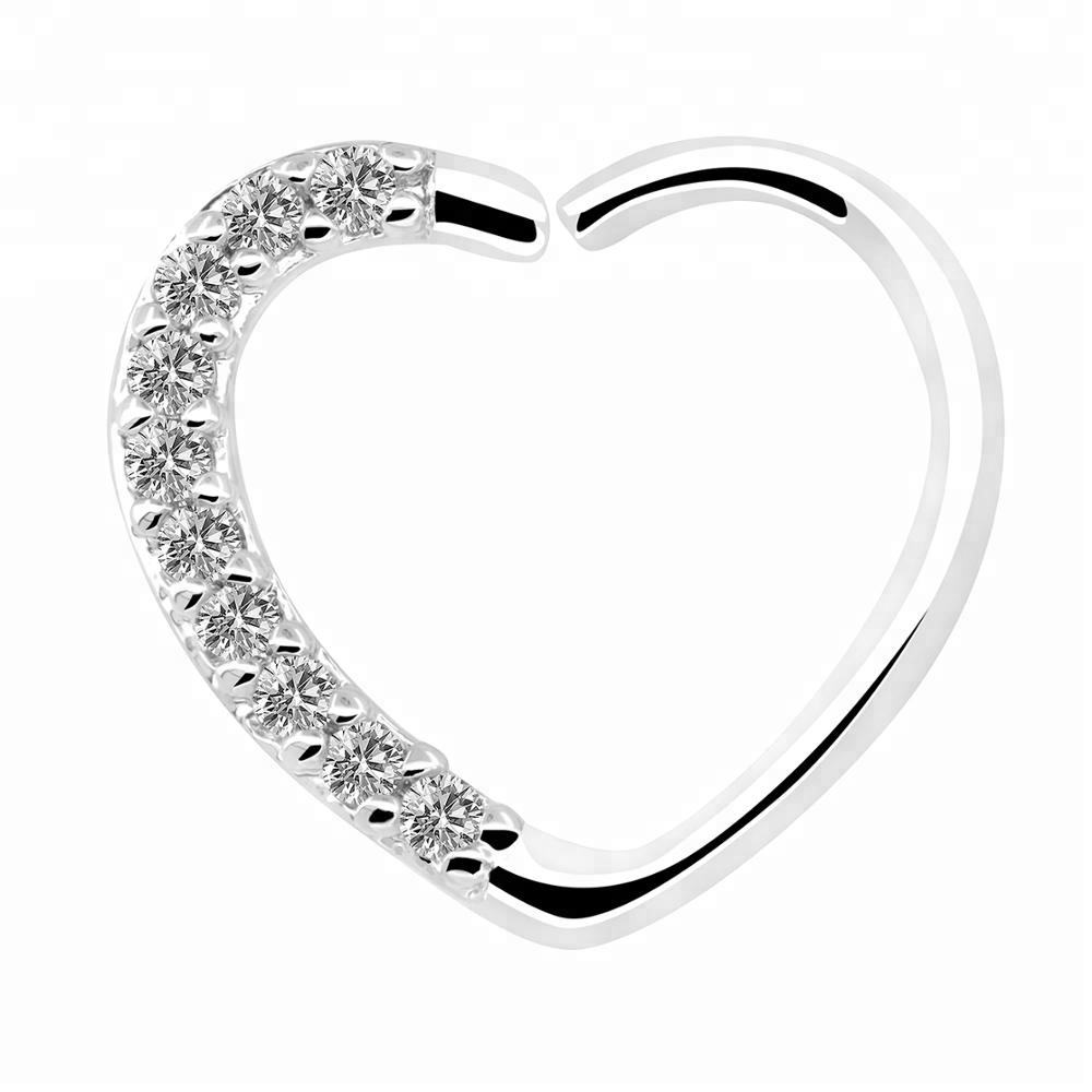 Single 18Kt White Gold Plated Clear CZ Heart Daith Earring Cartilage Tragus Earring