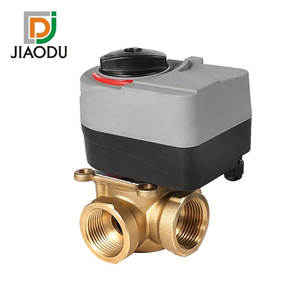 Rotary Actuator 3 way Brass Motorized Thermostatic Water Mixing Diverting Valve