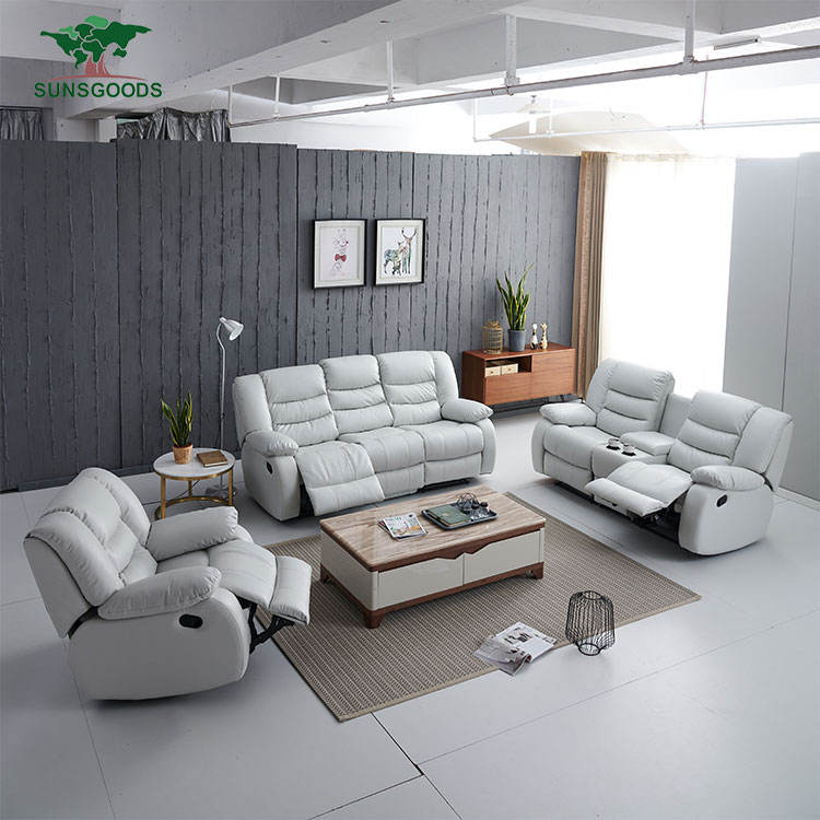 Wholesale electronic leather sectional recliner couch 3 2 1 sofa sets