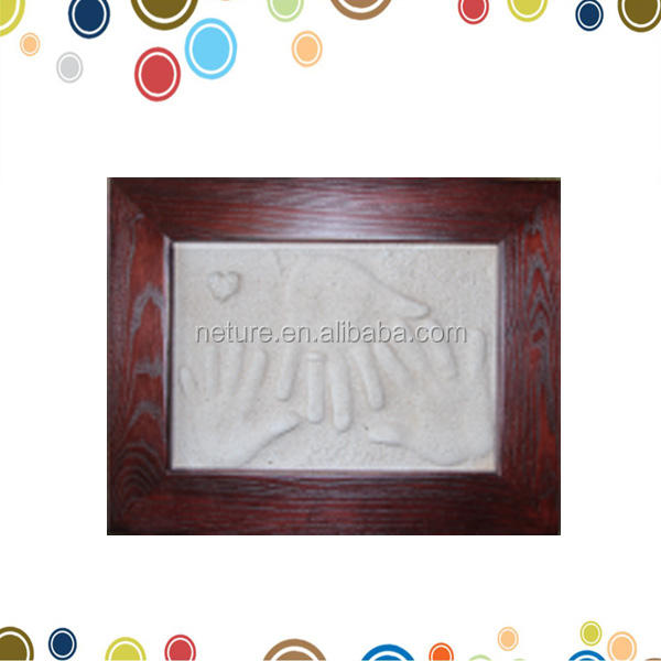 New year gifts family hanprints clay impression wooden photo frame