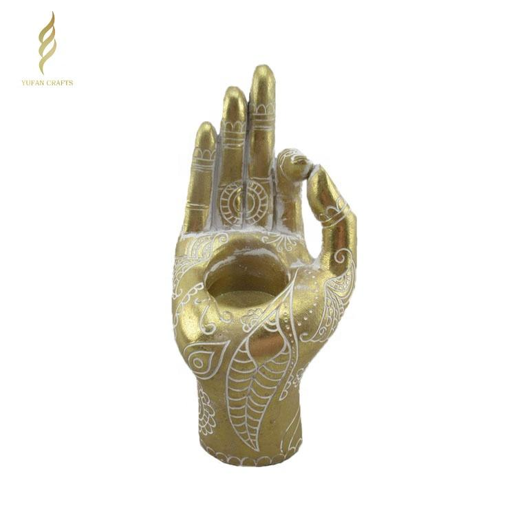 Hot sale antique gold resin Buddha hand sculpture art sculpture for candle holder home decoration