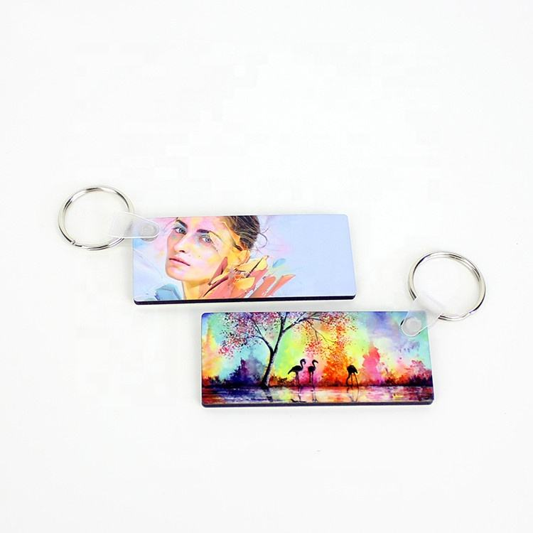 Custom heat transfer printable promotional wooden keyring Sublimation Blanks MDF keychain