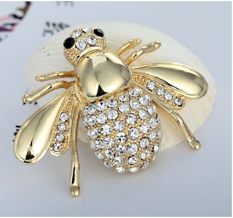 European style animal badge jewelry gold silver plated alloy clear rhinestone crystal bee pin brooch
