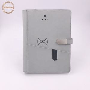 Custom A5 PU leather usb wireless notebook with power bank