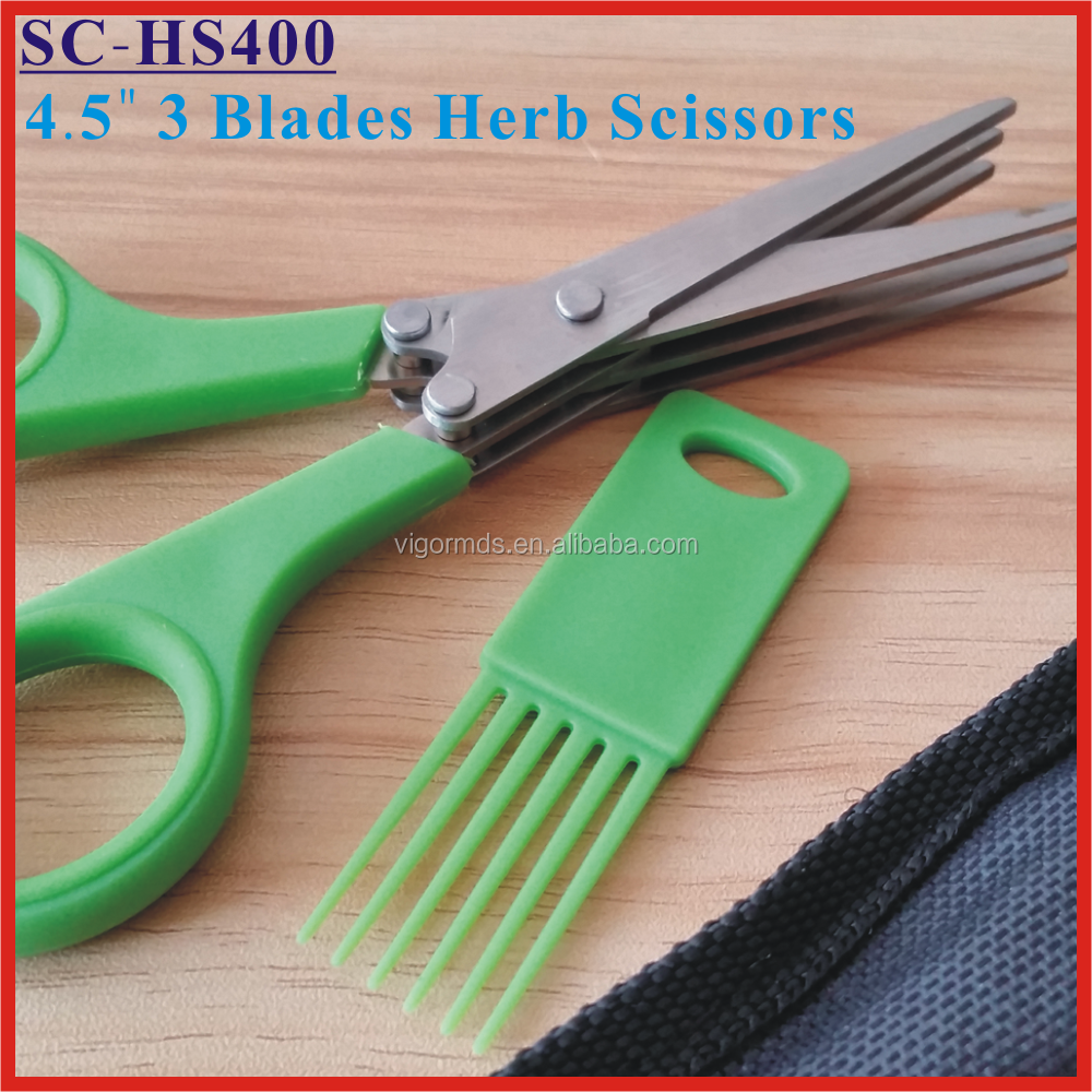"(SC-HS400) 4.5"" Multi 3 Layers Blades Kitchen Vegetable Cutting Herb Scissors"