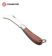 Stainless Steel and Wood Handle Electrician Tool Folding Knife