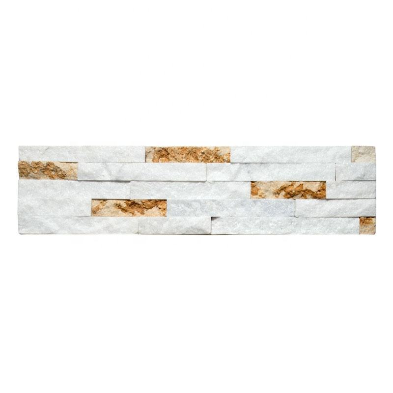 White Natural Quartz Stone mix Travertine Slab Decorative Art Wall Tiles