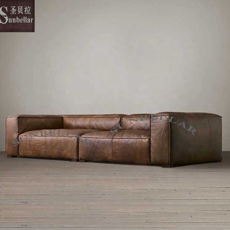 Luxe Vintage Lederen Couch Woonkamer Hoekbank Rh Stijl Foshan Fabriek Sectionele Sofa Lounge Couch Oversize