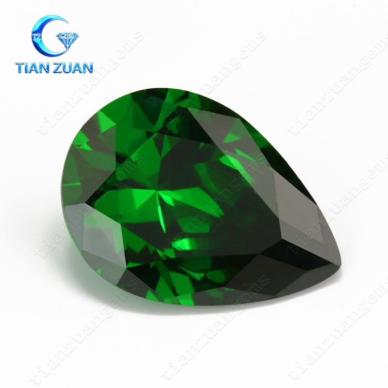 Machine cut 8*10mm Green Pear shape synthetic emerald CZ gemstone
