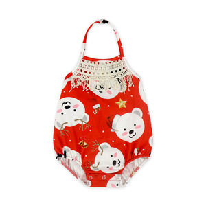 2018 baby christmas romper baby jumpsuit sleeveless baby clothing adjust halter bubble romper
