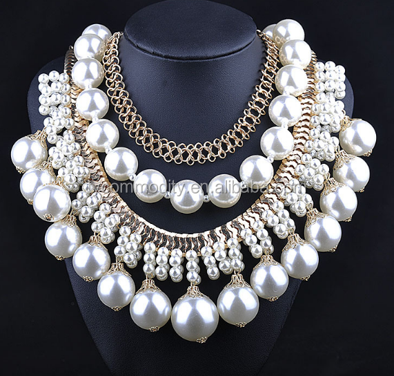 gold necklace designs girls wholesale chunky statement necklace in china artificial pearl