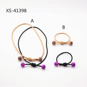 Cheap Wholesale Gold Plated Thick Acrylic Beaded Ball Elastic Hair Tie
