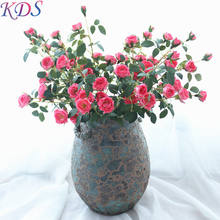 high quality single 6 heads rose artificial flower for miniature garden decoration for home and wedding french rose