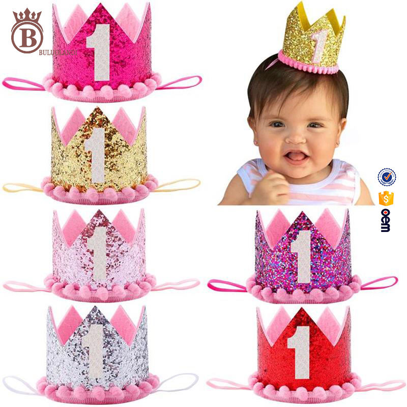 2017 Hot Baby Sequins Number Birthday Party Crown Elastic Headband