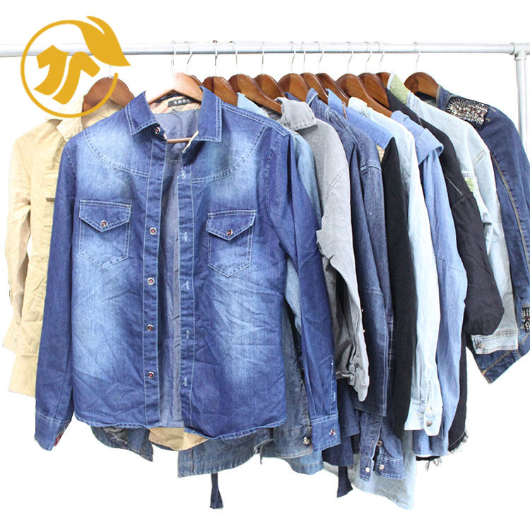 Fashionable cheap men/ladies jeans shirt sort second hand clothes in China