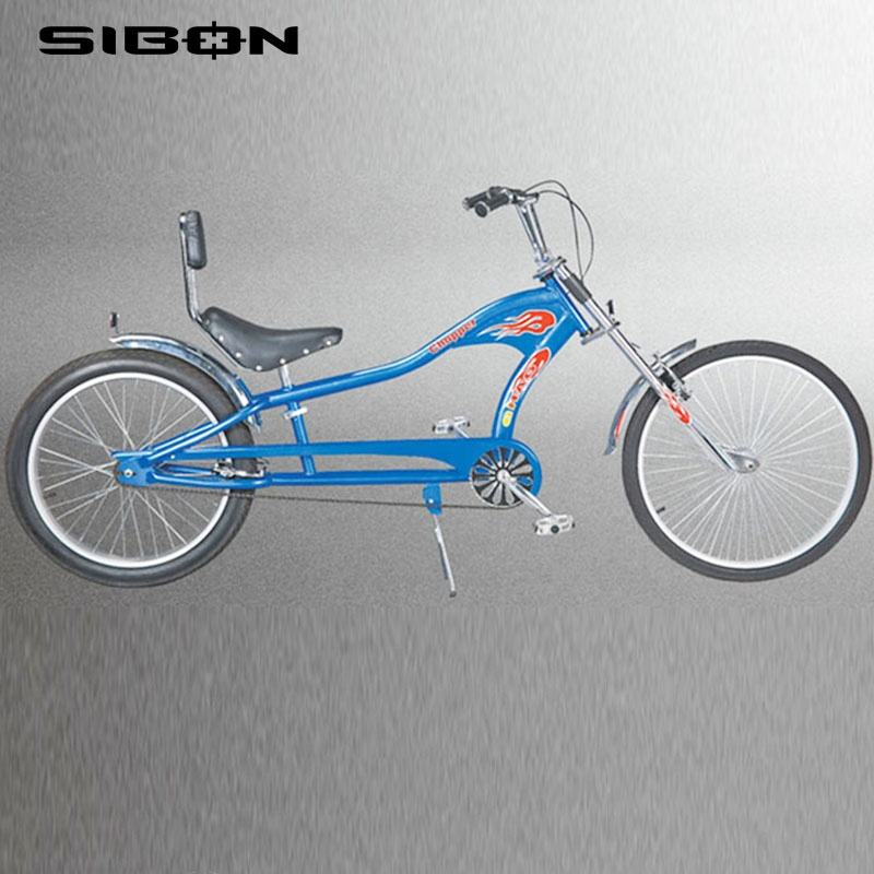 "SIBON B0300105 26"" fat tire aluminium alloy rim front disc brake blue bike chopper for adult"