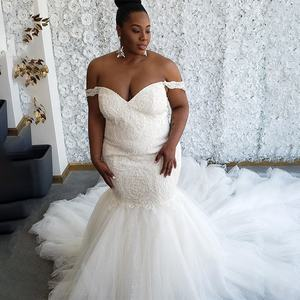 2019 Plus Size African Off Shoulder Beading Lace Mermaid Wedding Dress