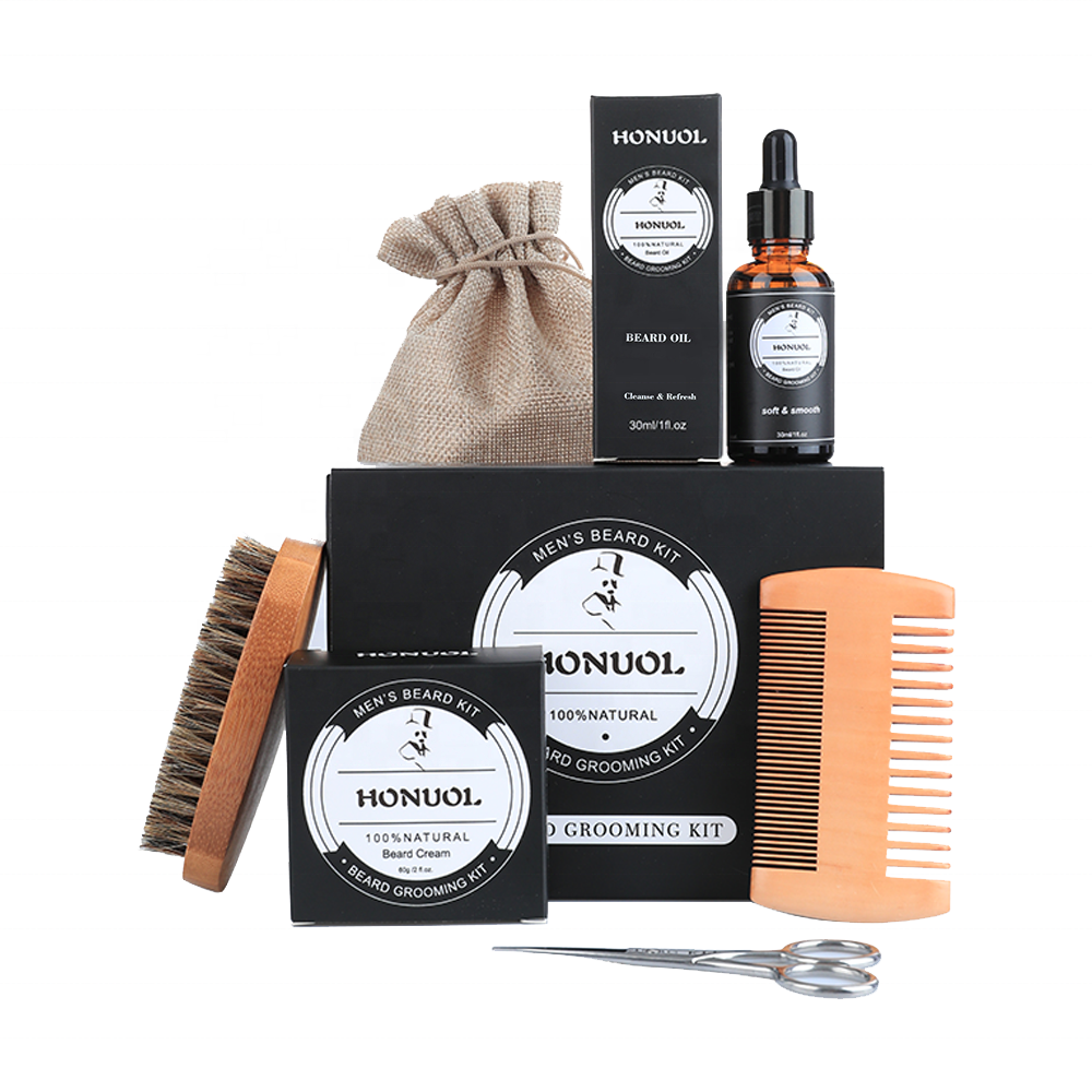 Private Label Organic Beard Balm Wax Beard Oil Beard Growth Grooming Care Kit With Cloth Bag and Oil For Men Care