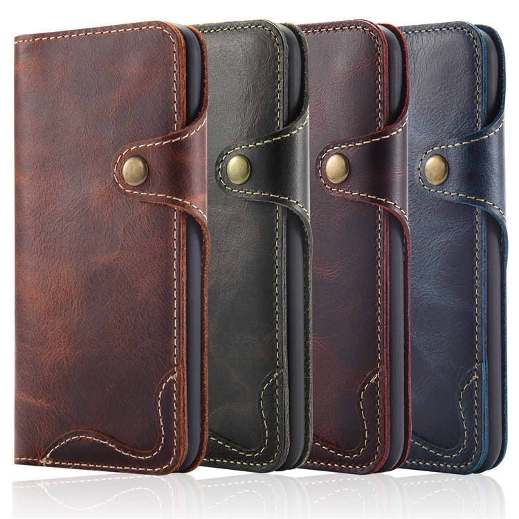 Luxury Genuine Leather Wallet Case for iPhone X Real Folio Leather Cover for iPhone XS