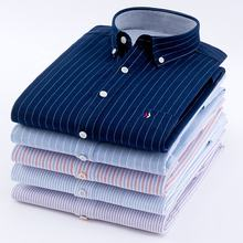 striped men's casual shirt cotton washed Oxford full long sleeve shirt new style