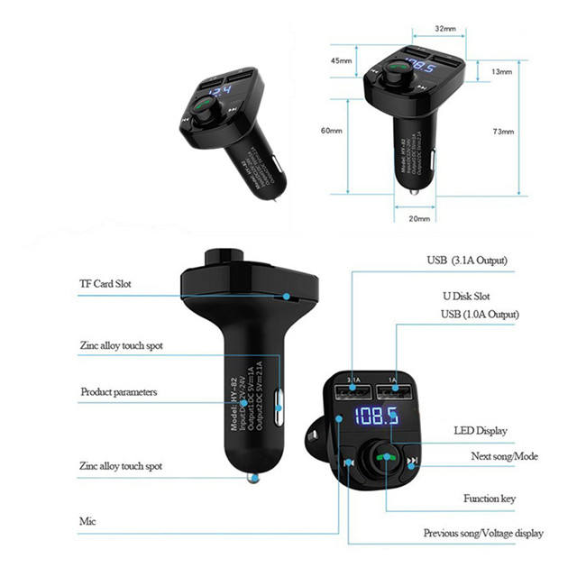 Di vendita caldo 12 v bluetooth fm radio transmitter car mp3 player con bluetooth