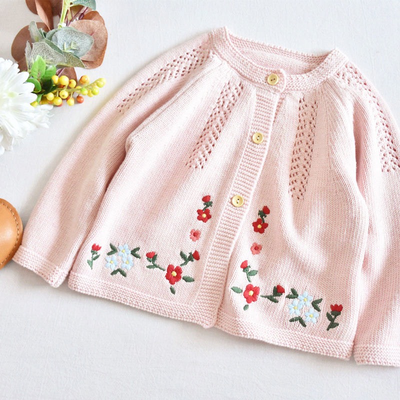 baby cardigan pink girls sweater children clothes pink embroidery flower 100 % cotton wholesale ready made lots