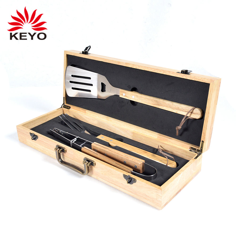Wooden Case Barbecue Tool Box Set Barbeque Tools Box 3Pcs Set Bbq Grill Tool Kit