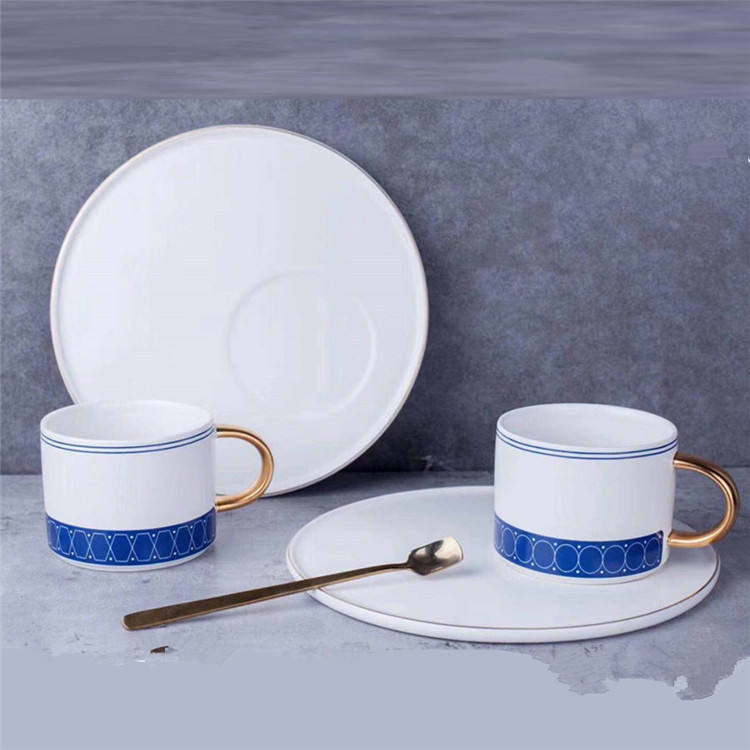 Fancy price new products modern tea set home goods coffee shop ued golden handle eco wedding ceramic coffee cup with plate